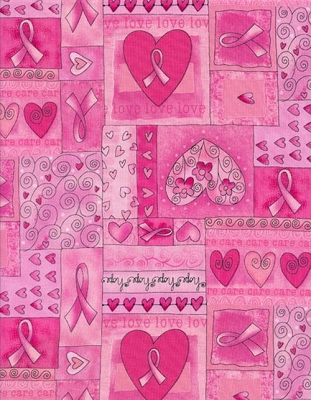 Timeless Treasures Gail C1766 Pink squares of hearts and ribbons