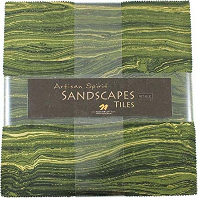 Northcott Sandscapes Chips Charm Pack 7772 Moss/Green Apple