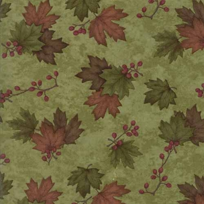 Moda Country Road Maple Leaves Moss Green 6668-23