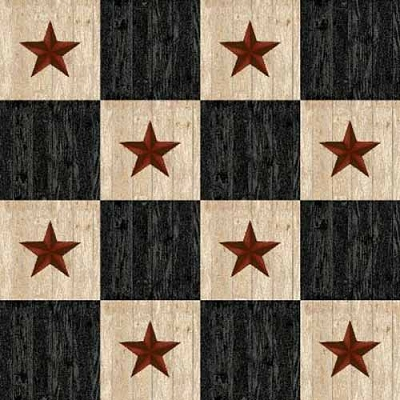 Henry Glass Plain & Simple Blk Check Stars