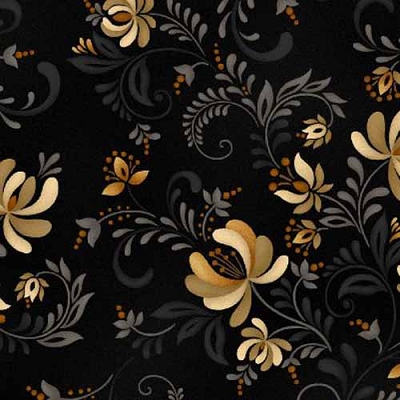 Henry Glass Plain & Simple Blk Floral