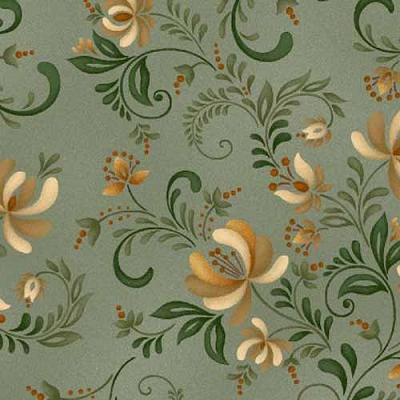 Henry Glass Plain & Simple Green Floral