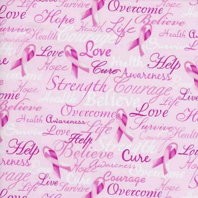 Timeless Treasures Pink Ribbon Cure Words Gail-C7659-PNK