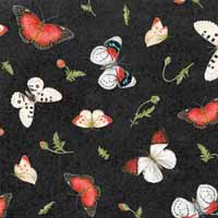 HG Poppy Perfection Tossed Butterflies on Black1196-99
