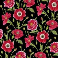 HG Poppy Perfection Small Poppy on Black1192-99
