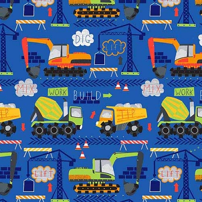 Timeless Treasures Kidz Cement Trucks C6116-Cobalt