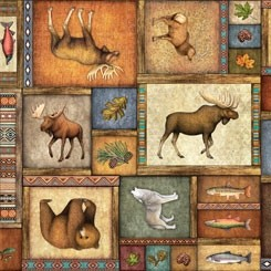 Quilting Treasures Timberland Trail Animal Collage Multi 26805-X