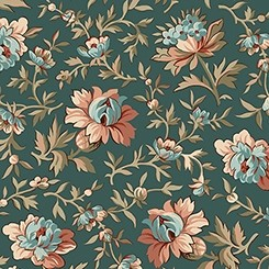 Quilting Treasures Bethel Packed Floral Dk. Brown 26245-A