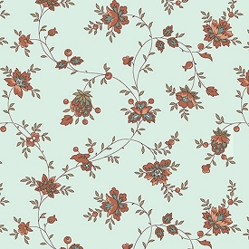 Quilting Treasures Bethel Spaced Floral Vine Aqua 26247-Q