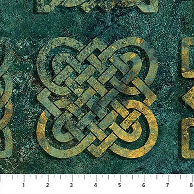 Northcott Solstice Square Scroll Teal 39428-69