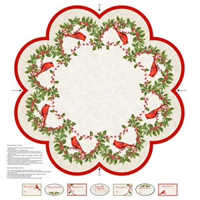 Cardinal Woods Tree Skirt Panel 43x43in