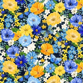 Wilmington Prints Madison Blue Large Floral
