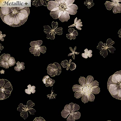 Pressed Flowers Black