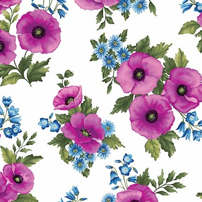Midnight Poppy Toss Fuchsia on White