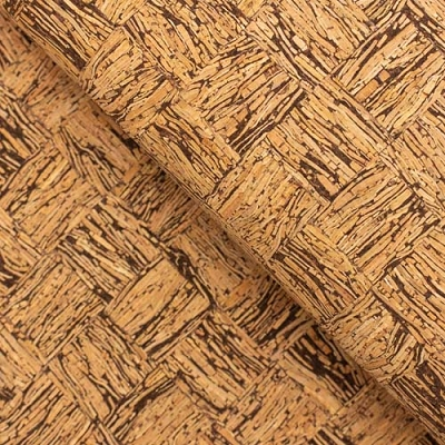 Squares brown and natural cork fabric COF-138 13 x 27