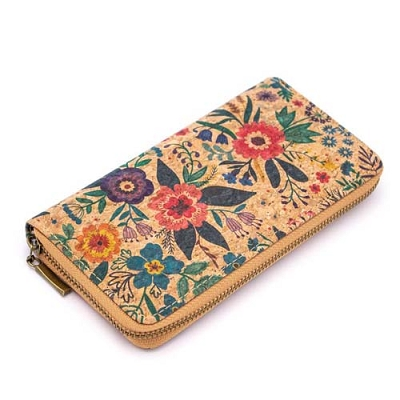 Cork Wallet Natural with Flowers