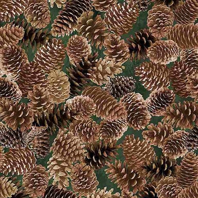 Timeless Treasures Evergreen Packed Pinecones