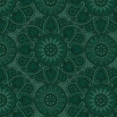 Henry Glass October Morning Autumn Mandala Teal 9139-77