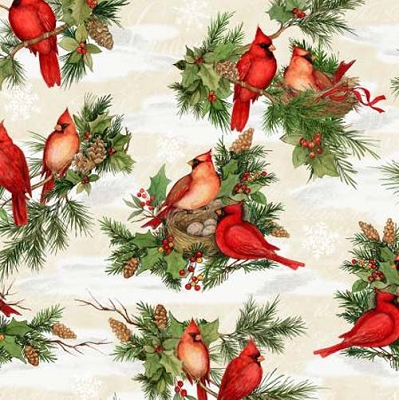 Cardinal Noel Cream Large Allover