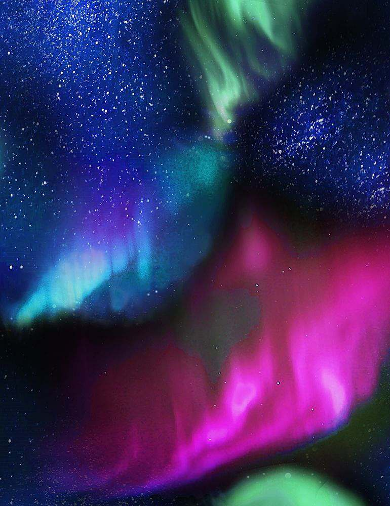 Timeless Treasures Aurora Night Northern Lights