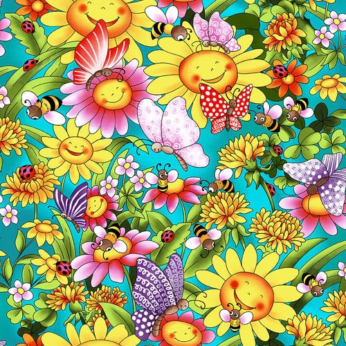 Blank Quilting Pixie Patch Sunflowers With Butterflies