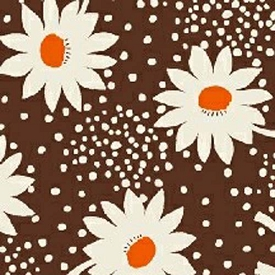 Feed Sack VI Daisies/dots on Brown