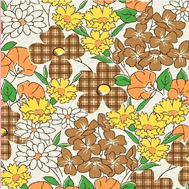 Feed Sack VI Brown Plaid Daisies