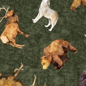 Quilting Treasures Timberland Trail Tossed Animals Multi 26806-F