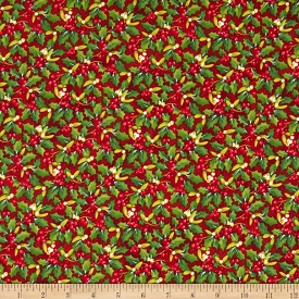 Northcott Christmas Delivery Holly on Red
