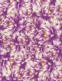 Timeless Treasures Water Dance Packed Water Lillies Purple w/Metallic