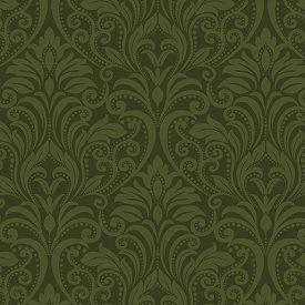 Benartex A Festival Of Roses Festive Damask Dark Green